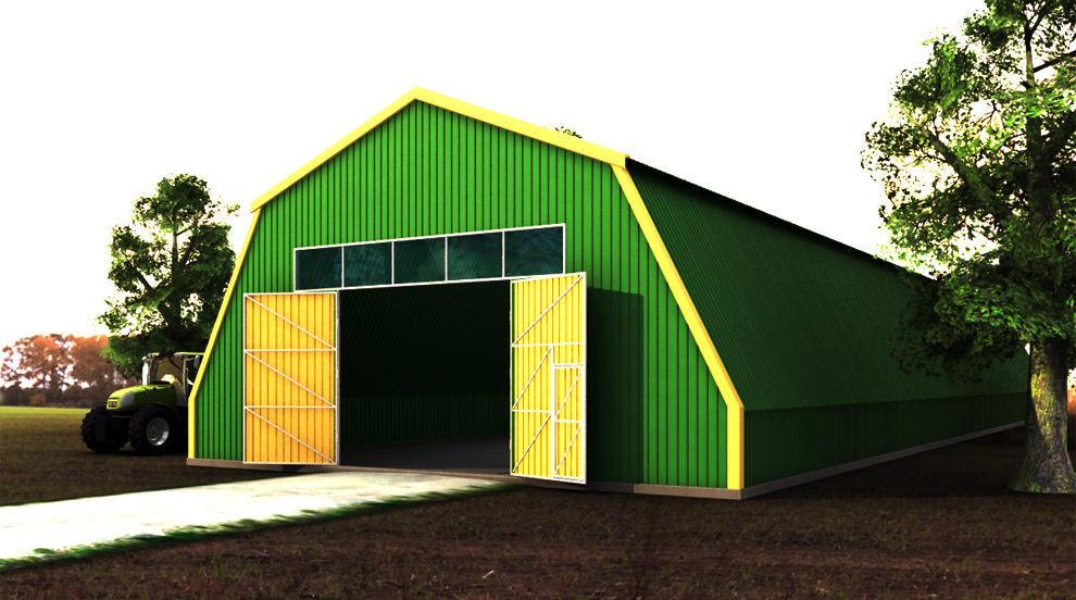Большой зеленый полигонный ангар из металлоконструкций